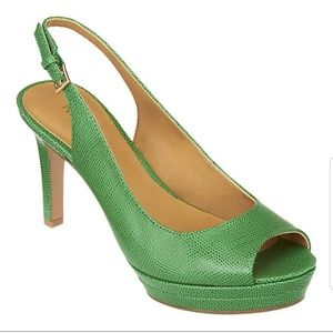 Nine West green strappy heels